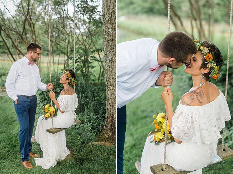 Bride Groom Swing Colourful Bohemian Barn Wedding Pennsylvania http://www.dawn-derbyshire.com/