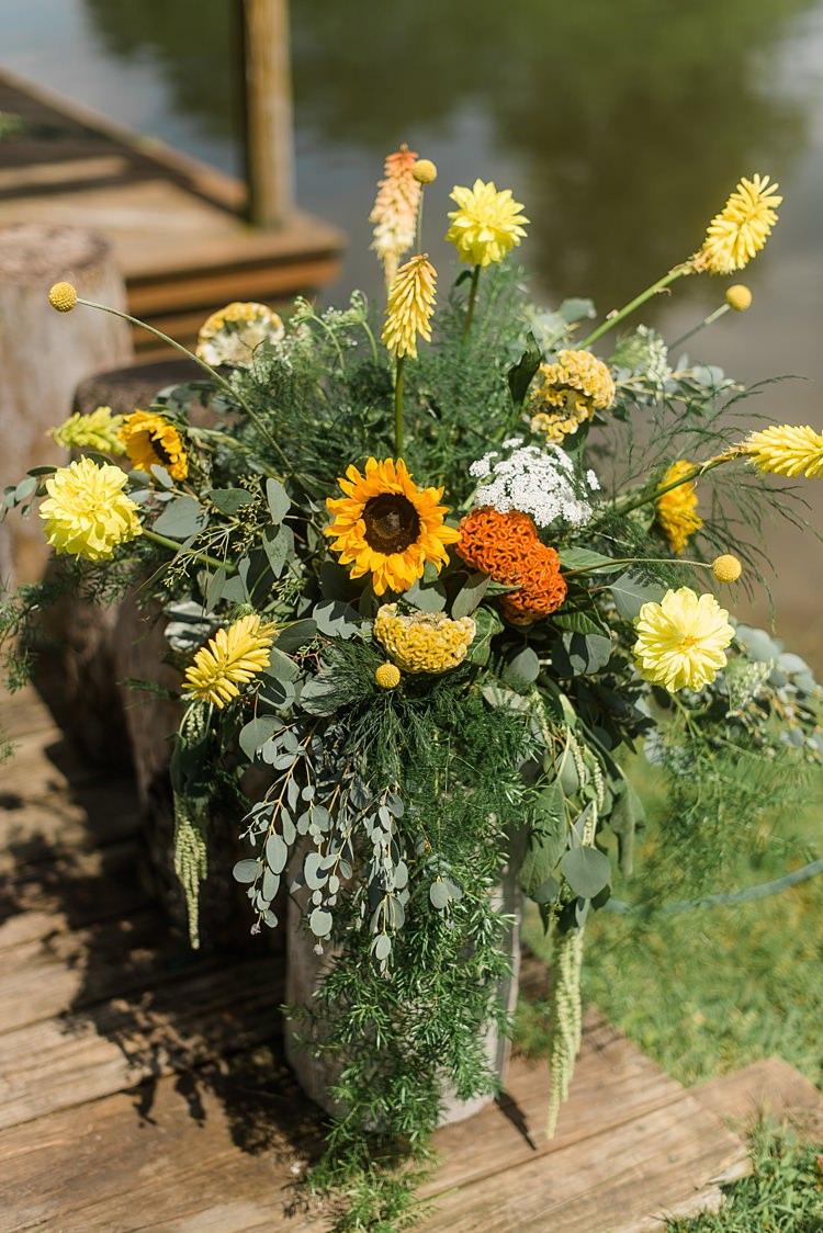 Flower Arrangement Decor Yellow Colourful Bohemian Barn Wedding Pennsylvania http://www.dawn-derbyshire.com/