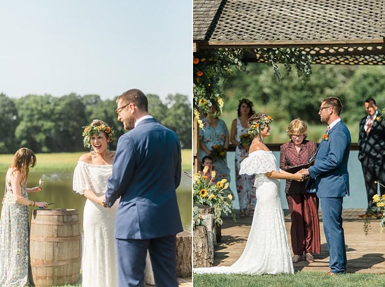 Ceremony Colourful Bohemian Barn Wedding Pennsylvania http://www.dawn-derbyshire.com/