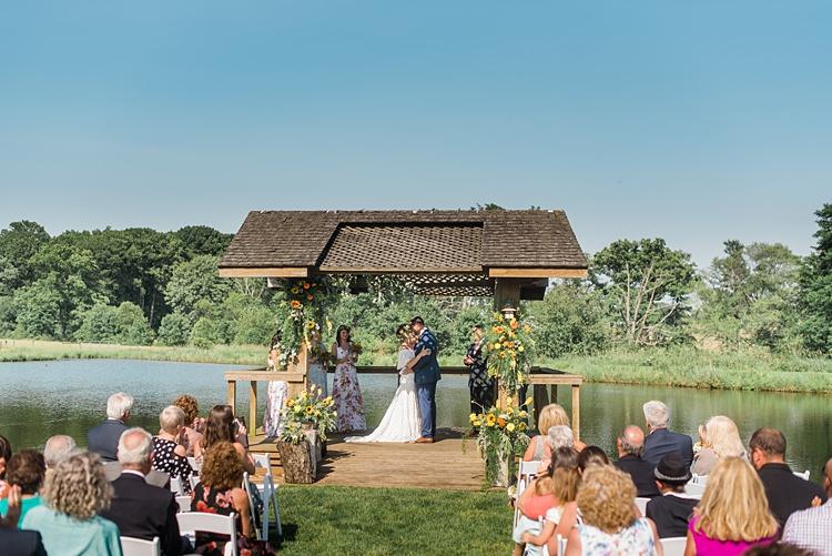 Ceremony Lake Guests Colourful Bohemian Barn Wedding Pennsylvania http://www.dawn-derbyshire.com/