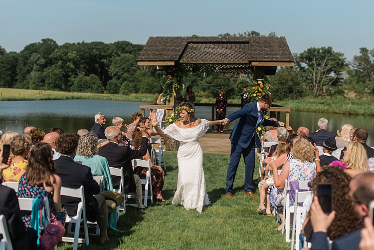 Recessional Bride Groom Ceremony Colourful Bohemian Barn Wedding Pennsylvania http://www.dawn-derbyshire.com/