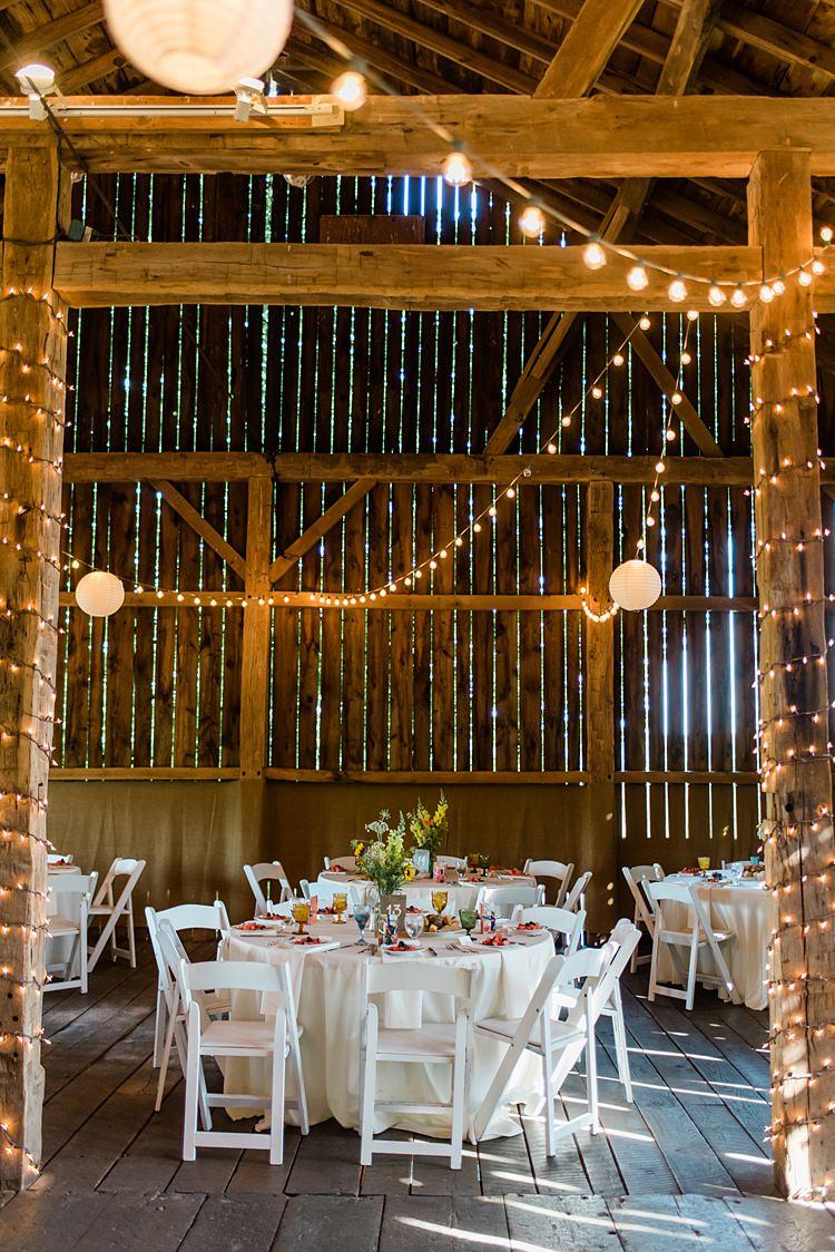 Barn Festoon Lighting Tables Colourful Bohemian Barn Wedding Pennsylvania http://www.dawn-derbyshire.com/