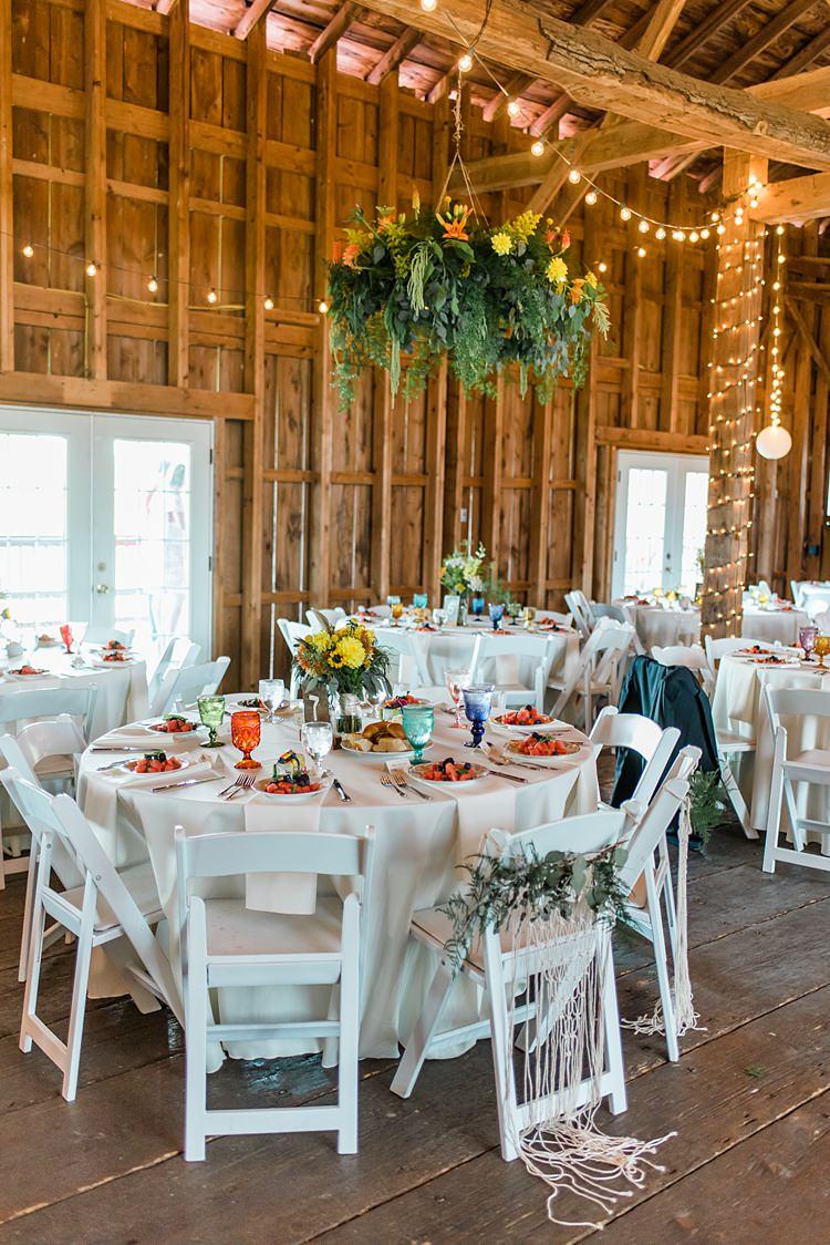 Festoon Lighting Table Settings Reception Colourful Bohemian Barn Wedding Pennsylvania http://www.dawn-derbyshire.com/