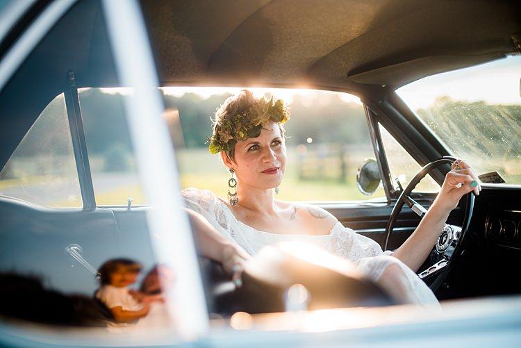 Bride Car Colourful Bohemian Barn Wedding Pennsylvania http://www.dawn-derbyshire.com/