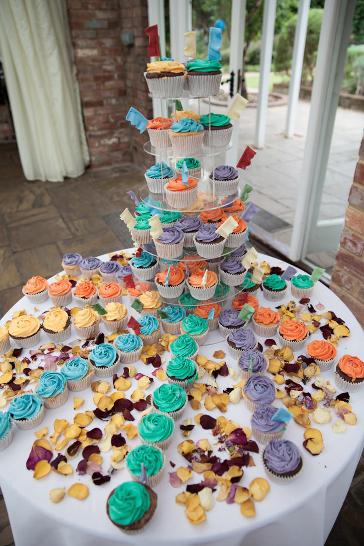 Rainbow Multicolour Cup Cakes Tower Summer Festival Country Estate Wedding http://kerryannduffy.com/