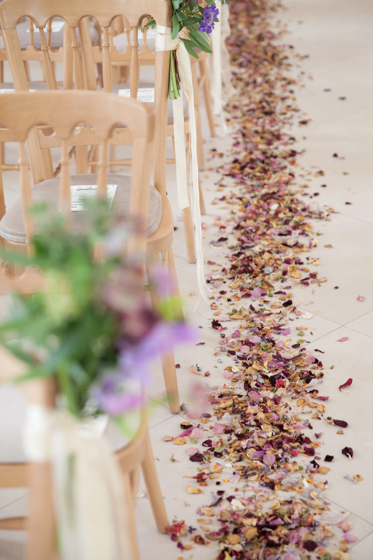 Petals Confetti Aisle Pew End Chairs Ceremony Room Decor Summer Festival Country Estate Wedding http://kerryannduffy.com/