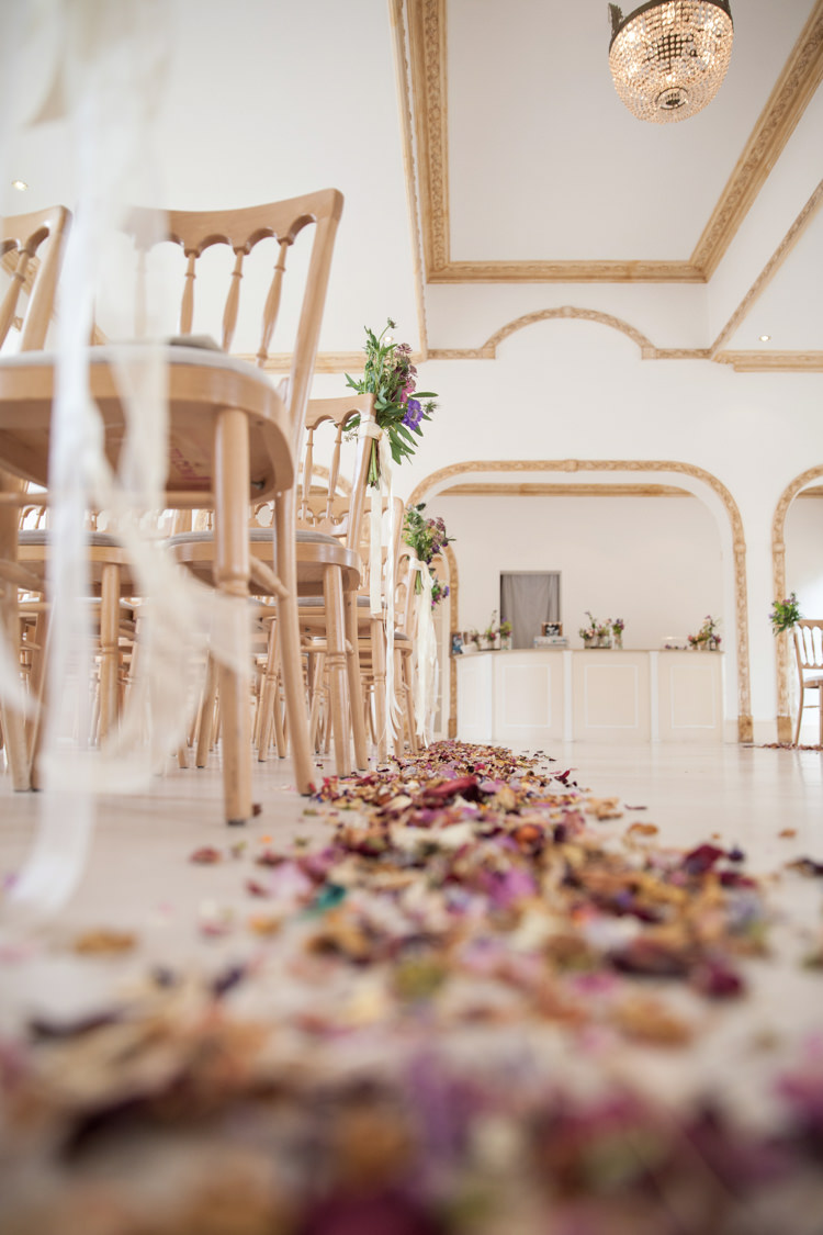 Confetti Petals Aisle Ceremony Pew End Chair Decor Room Summer Festival Country Estate Wedding http://kerryannduffy.com/