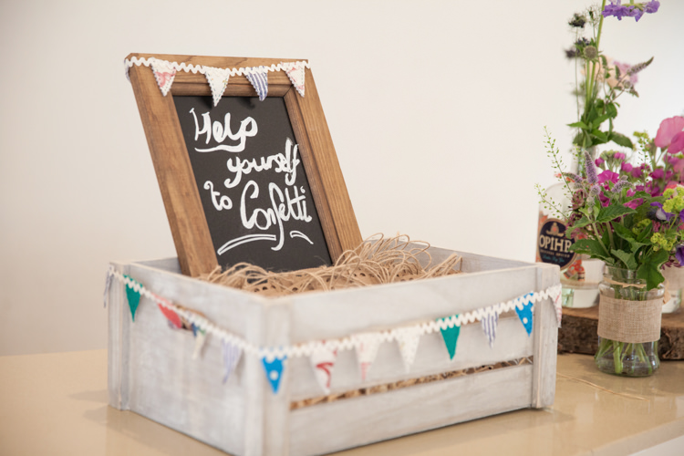 Confetti Crate Box Sign Petals Bunting Summer Festival Country Estate Wedding http://kerryannduffy.com/
