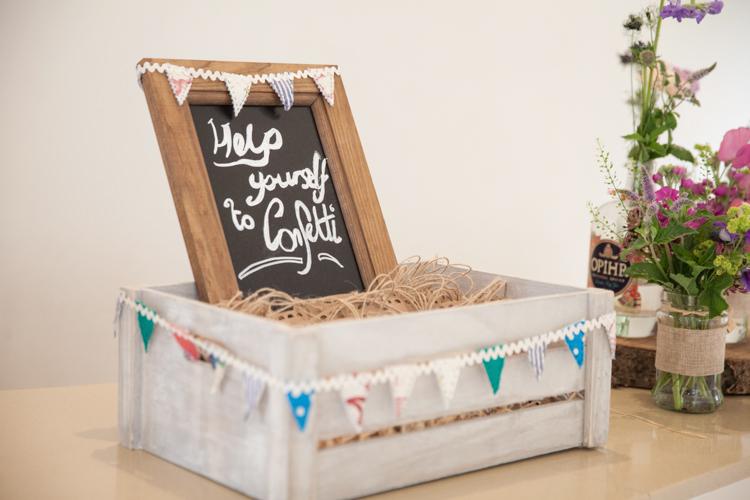 Confetti Crate Box Sign Petals Bunting Summer Festival Country Estate Wedding http://kerryannduffy.com/
