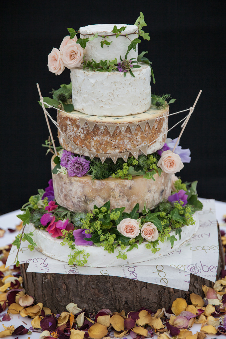 Cheese Tower Cake Fruit Flowers Log Bunting Summer Festival Country Estate Wedding http://kerryannduffy.com/