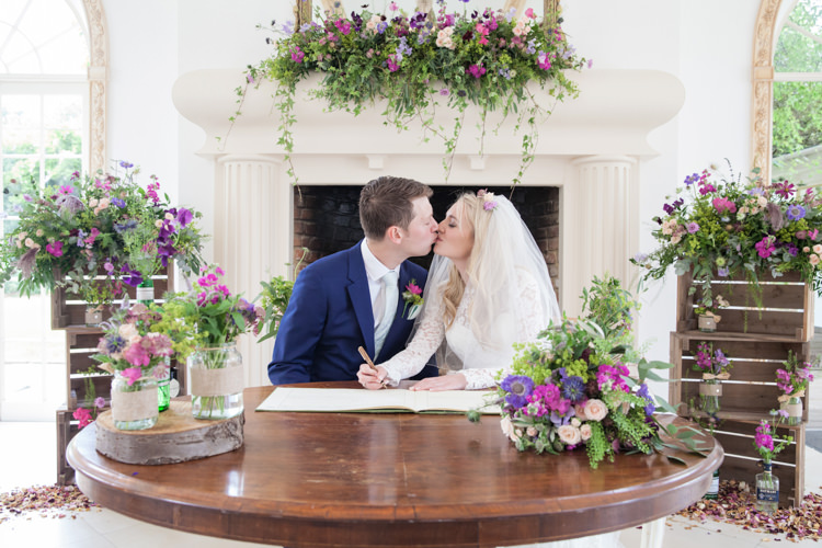 Ceremony Table Flowers Crates Fireplace Mantle Summer Festival Country Estate Wedding http://kerryannduffy.com/
