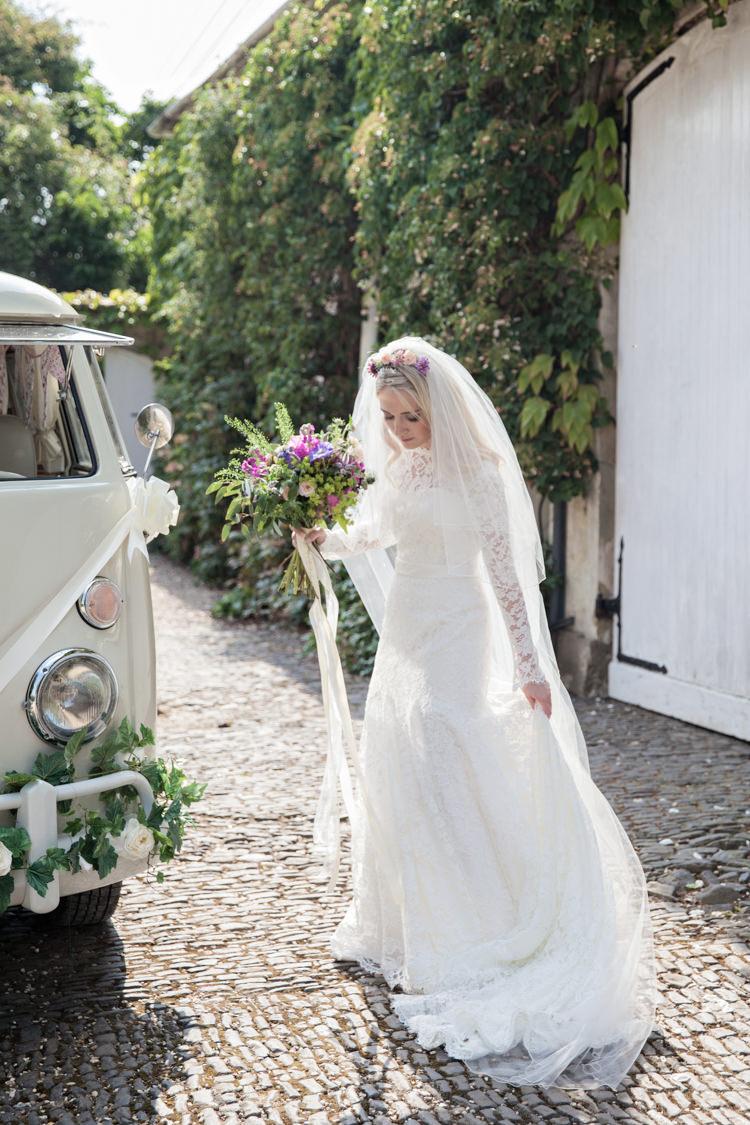 Lace Dress Gown Sleeves Bride Bridal Veil Summer Festival Country Estate Wedding http://kerryannduffy.com/
