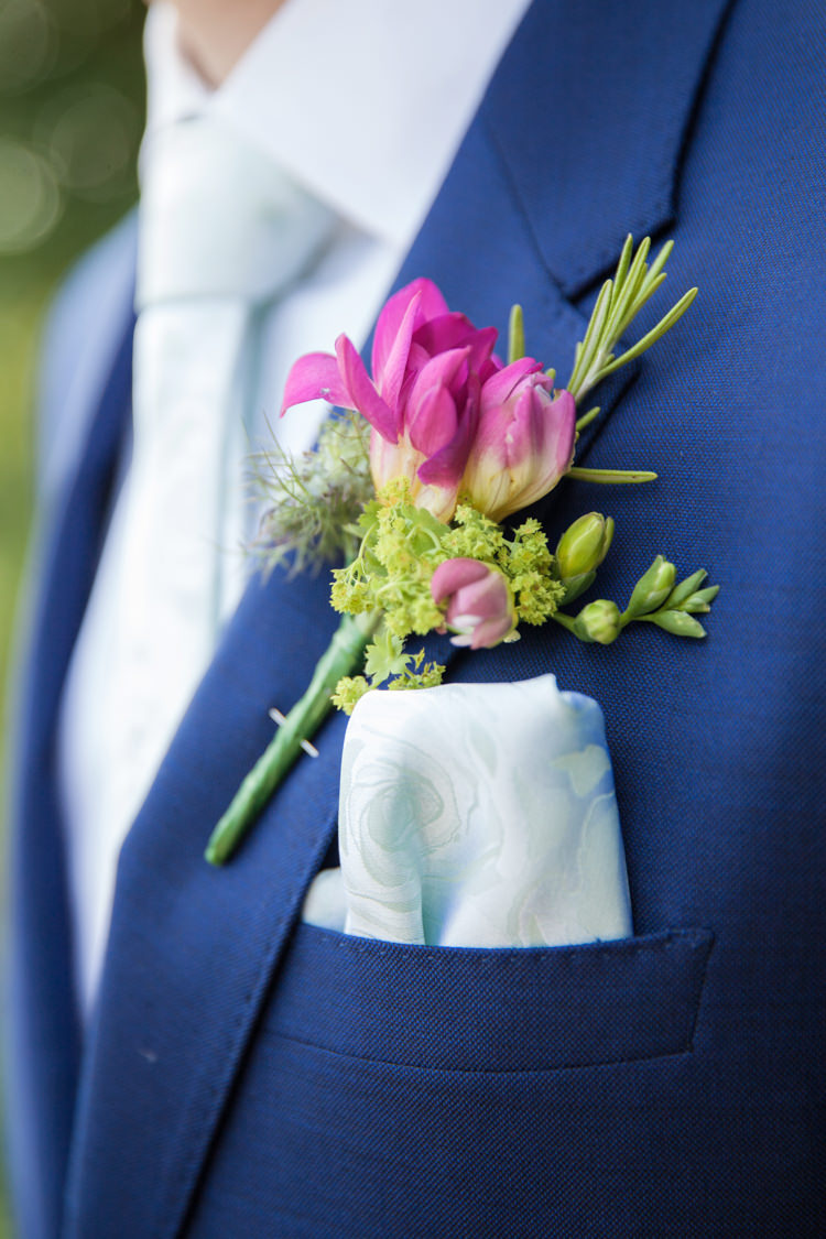 Buttonhole Groom Pink Rosemary Herb Summer Festival Country Estate Wedding http://kerryannduffy.com/