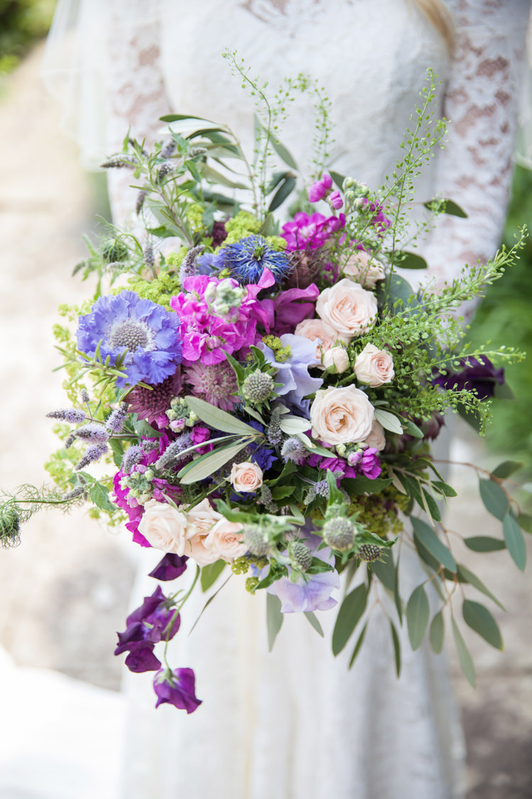 Bouquet Flowers Bride Bridal Purple Lilac Nigella Cornflowers Sweet Peas Stocks Scabious Rosemary Mint Summer Festival Country Estate Wedding http://kerryannduffy.com/