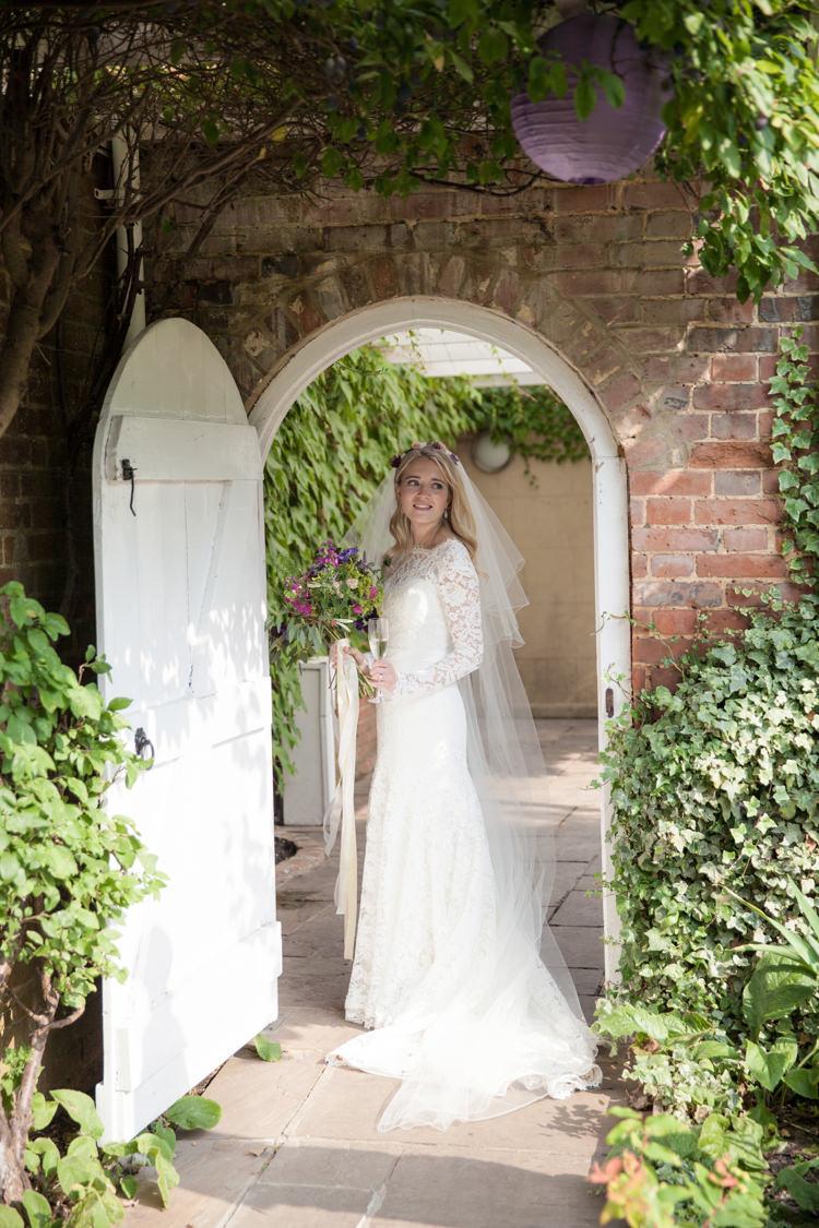 Long Lace Sleeves Dress Bride Summer Festival Country Estate Wedding http://kerryannduffy.com/
