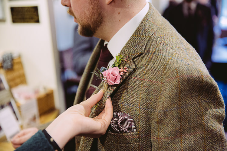 Rose Thistle Buttonhole Groom Simple Cosy Country Winter Wedding http://hayleybaxterphotography.com/