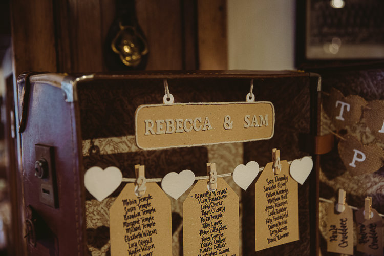 Suitcase Table Plan Seating Chart Simple Cosy Country Winter Wedding http://hayleybaxterphotography.com/