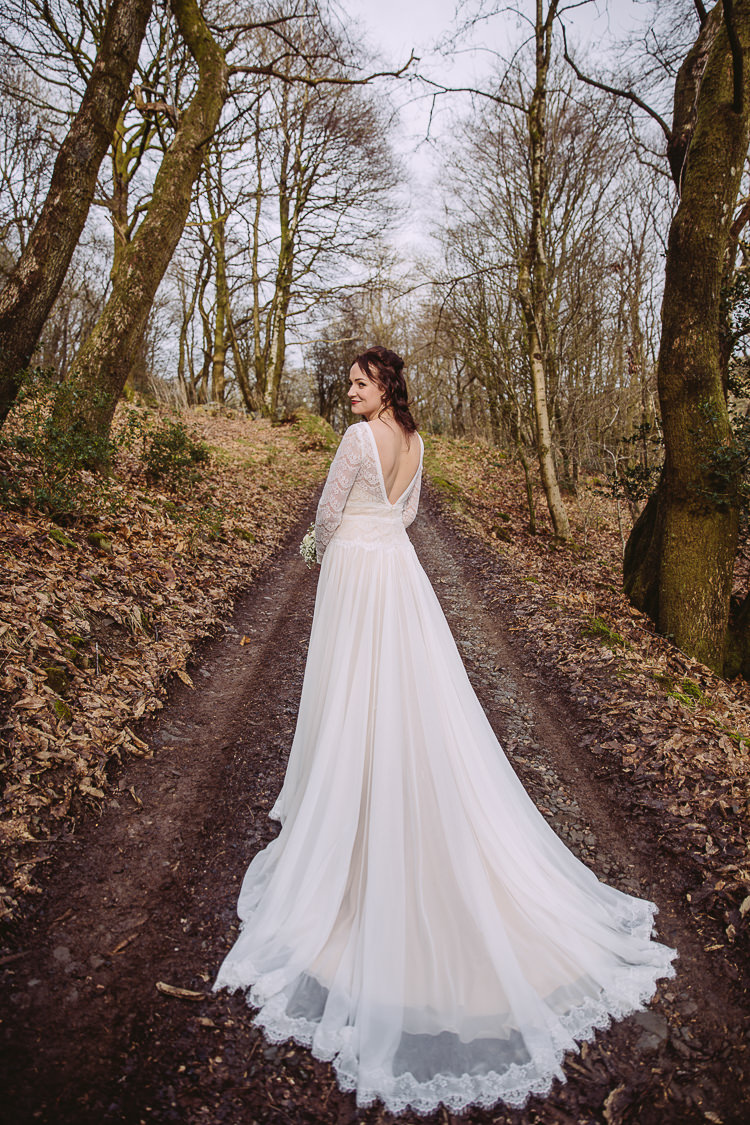 Lace Train Bride Bridal Gown Dress Maggie Sottero Sleeves Simple Cosy Country Winter Wedding http://hayleybaxterphotography.com/