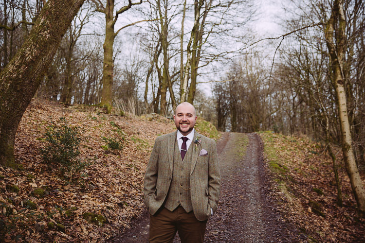 Brown Tweed Suit Groom Simple Cosy Country Winter Wedding http://hayleybaxterphotography.com/