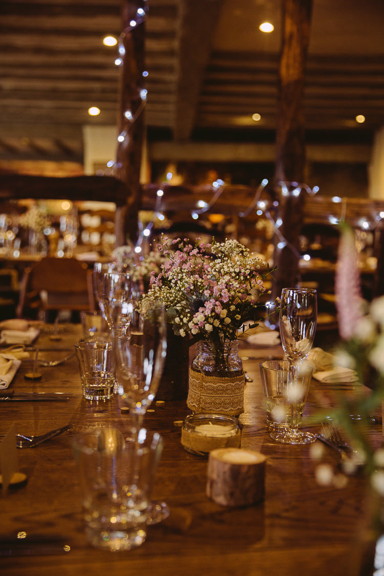 Flowers Jars Hessian Simple Cosy Country Winter Wedding http://hayleybaxterphotography.com/
