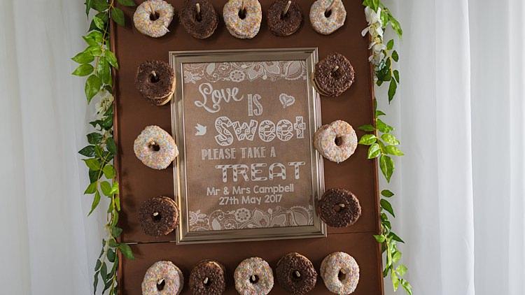 Donut Wall Big Stylish Outdoors Glamping Wedding https://www.jessyarwood.co.uk/