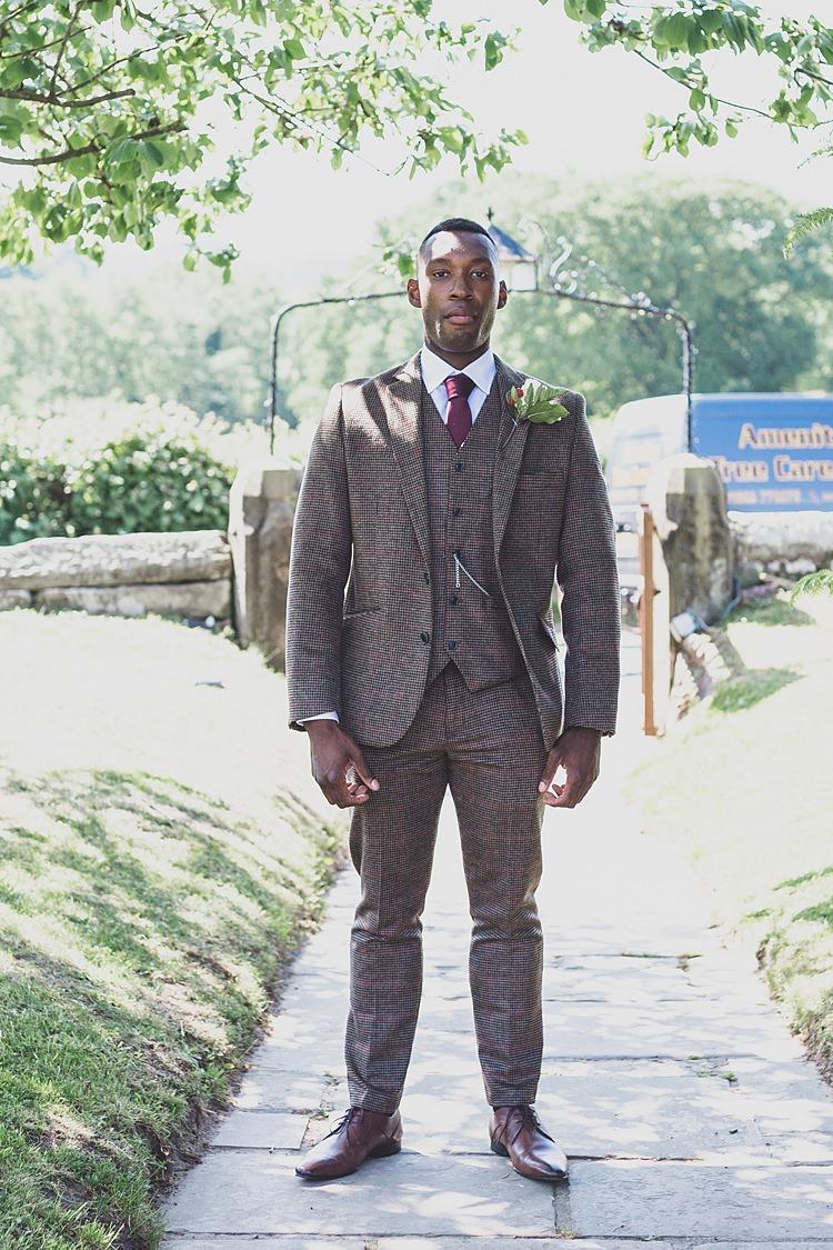 Tweed Suit Groom Red Tie Tan Shoes Big Stylish Outdoors Glamping Wedding https://www.jessyarwood.co.uk/