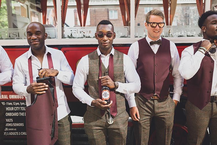 Tweed Burgundy Groomsmen Groom Waistcoat Bow Tie Sunglasses Big Stylish Outdoors Glamping Wedding https://www.jessyarwood.co.uk/