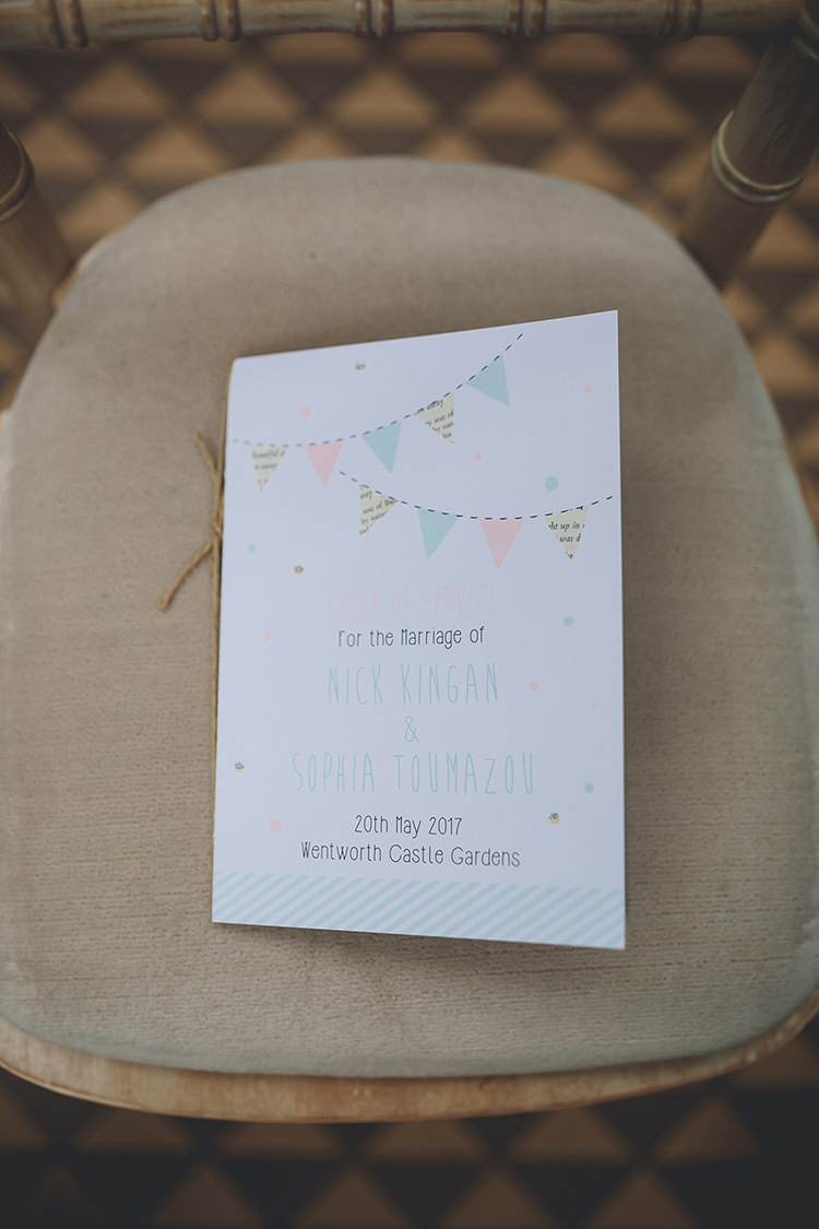 Bunting Twine Stationery Order Service Ceremony Darling Pale Pastels Conservatory Wedding http://storyandcolour.co.uk/