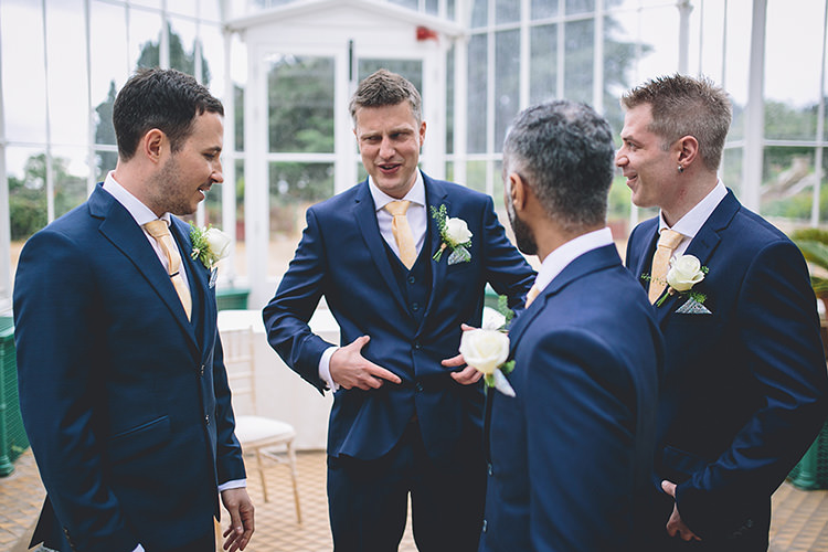 Navy Blue Suits Yellow Ties Groom Groomsmen Darling Pale Pastels Conservatory Wedding http://storyandcolour.co.uk/