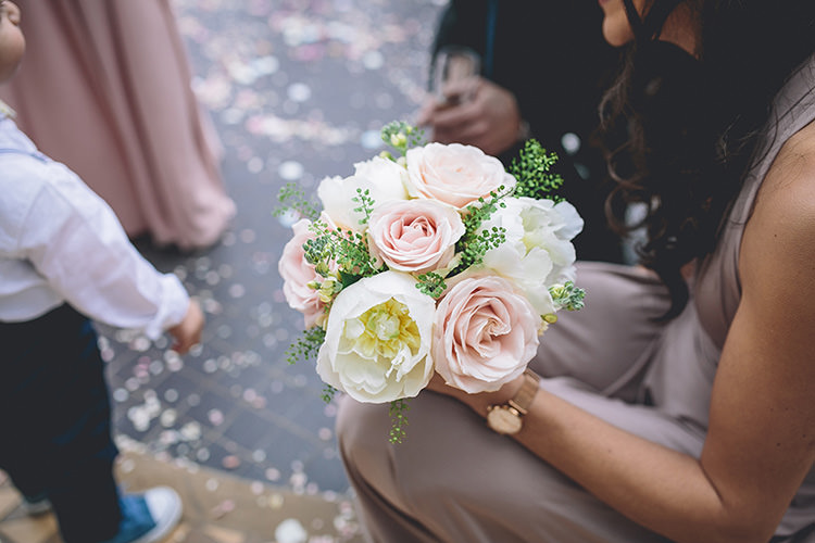 Pink Cream Rose Peony Bouquet Bridesmaid Flowers Darling Pale Pastels Conservatory Wedding http://storyandcolour.co.uk/