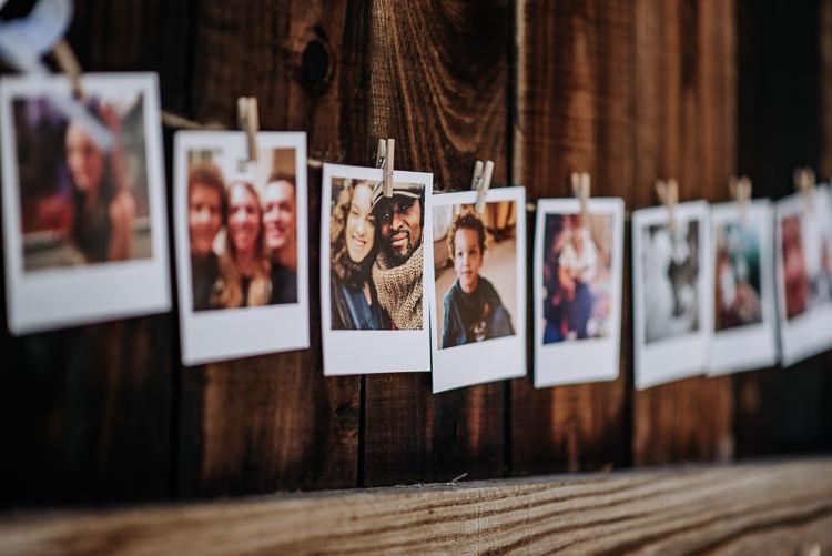 Polariod Photo Wall String Pegs Rustic Farm Barn DIY Wedding http://www.kazooieloki.co.uk/