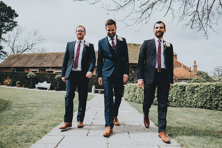 Groomsmen Navy Suits Ties Brogues Tan Burgundy Blush Minimal Elegant Barn Wedding http://www.rosshurley.com/