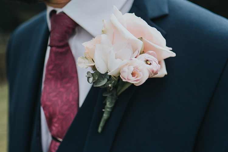 Pink Rose Buttonhole Groom Burgundy Blush Minimal Elegant Barn Wedding http://www.rosshurley.com/