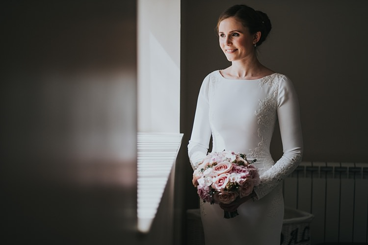 Orquidea Pronovias Lace Long Sleeve Dress Bride Bridal Burgundy Blush Minimal Elegant Barn Wedding http://www.rosshurley.com/