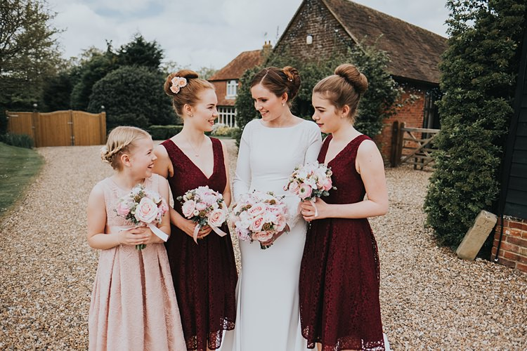 Short Bridesmaid Dresses Lace Burgundy Blush Minimal Elegant Barn Wedding http://www.rosshurley.com/