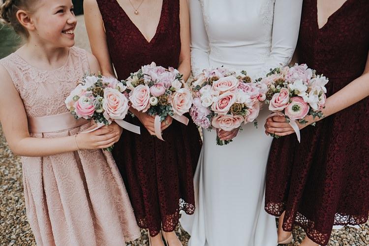 Pink Bouquets Roses Peony Bridesmaids Burgundy Blush Minimal Elegant Barn Wedding http://www.rosshurley.com/
