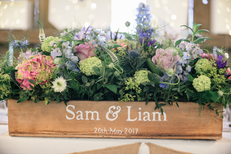Personalised Crate Flowers Pink Blue Camp Festival Style Chilled Wedding http://www.memoriesmilestones.co.uk/