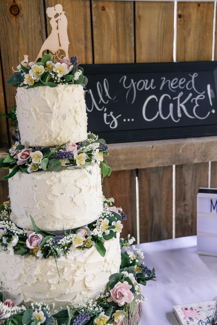 Tall Buttercream Cake Flowers Topper Log Camp Festival Style Chilled Wedding http://www.memoriesmilestones.co.uk/
