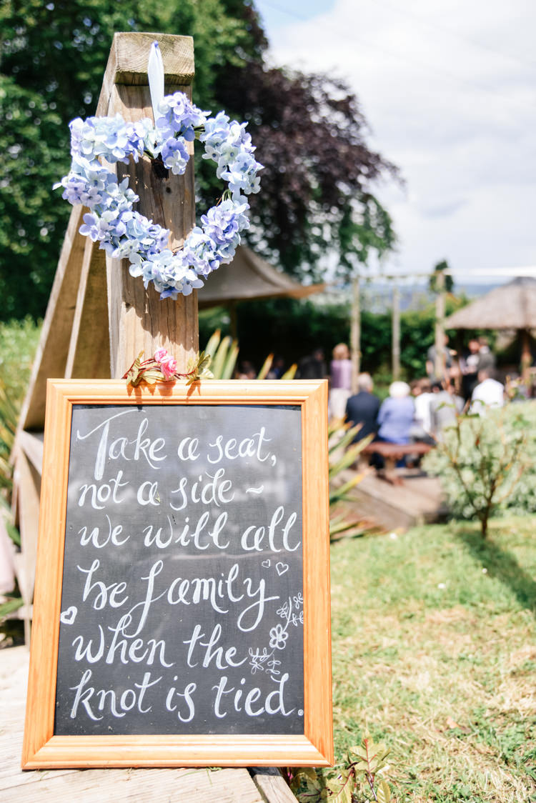 Ceremony Sign Take A Seat Not A Side Camp Festival Style Chilled Wedding http://www.memoriesmilestones.co.uk/
