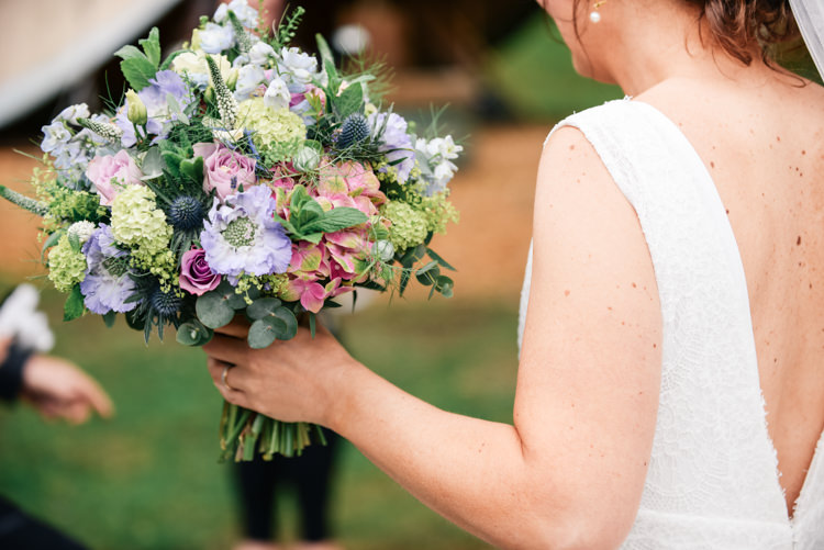 Bouquet Flowers Bride Bridal Pink Blue Thistle Rose Hydrangea Camp Festival Style Chilled Wedding http://www.memoriesmilestones.co.uk/