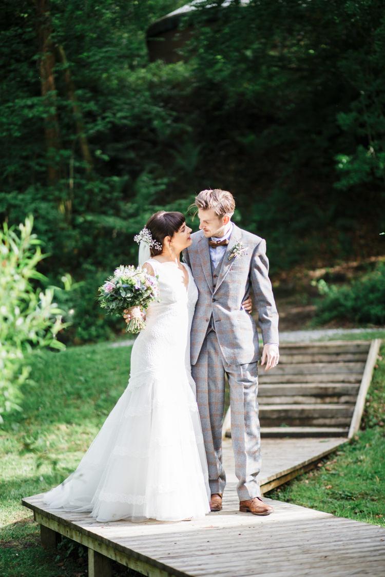 Tweed Suit Groom Bow Tie Camp Festival Style Chilled Wedding http://www.memoriesmilestones.co.uk/