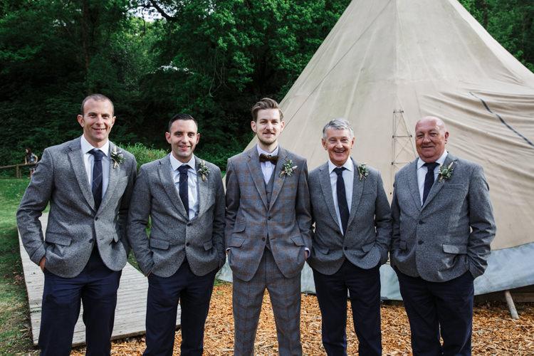 Groomsmen Tweed Suits Bow Tie Camp Festival Style Chilled Wedding http://www.memoriesmilestones.co.uk/