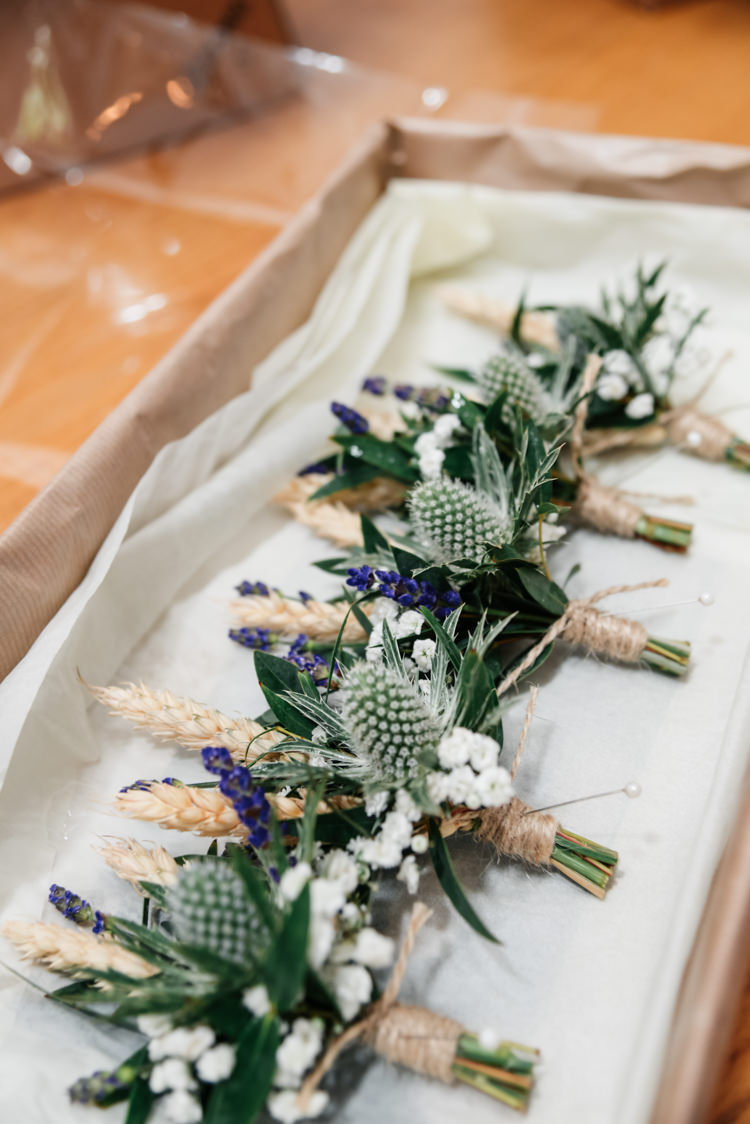 Thistle Wheat Twine Buttonholes Camp Festival Style Chilled Wedding http://www.memoriesmilestones.co.uk/