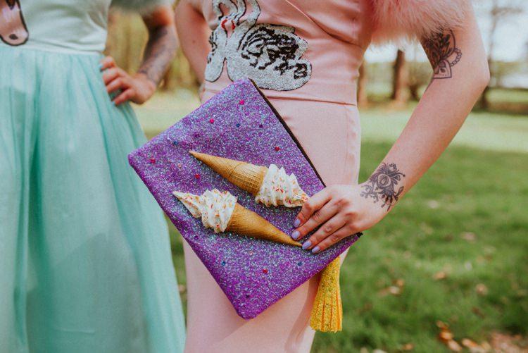 Ice Cream Clutch Bag Retro Kitsch Pastel Mint Pink Wedding Ideas http://www.beckyryanphotography.co.uk/