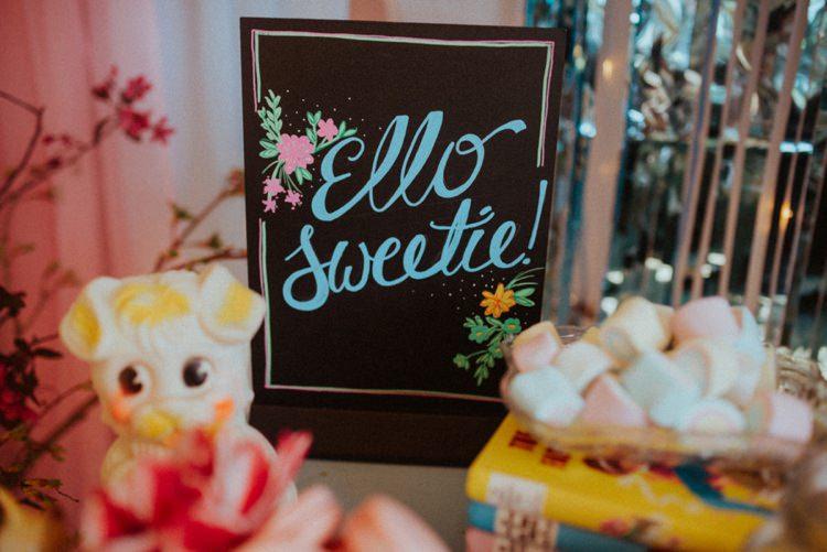 Sweetie Table Sign Retro Kitsch Pastel Mint Pink Wedding Ideas http://www.beckyryanphotography.co.uk/
