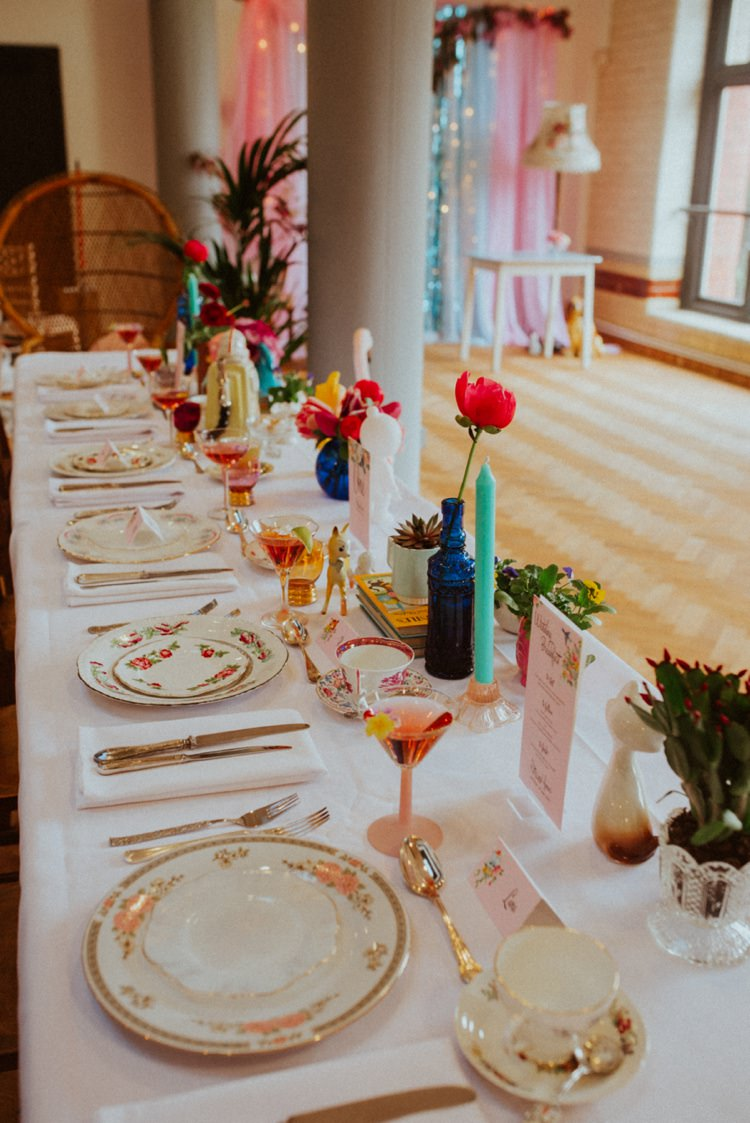 Table Decor Flowers Place Setting Retro Kitsch Pastel Mint Pink Wedding Ideas http://www.beckyryanphotography.co.uk/