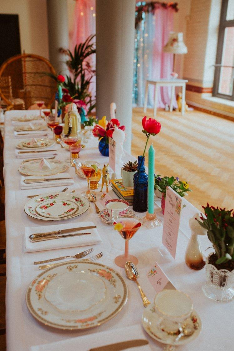 Table Decor Flowers Place Setting Retro Kitsch Pastel Mint Pink Wedding Ideas http://www.beckyryanphotography.co.uk/