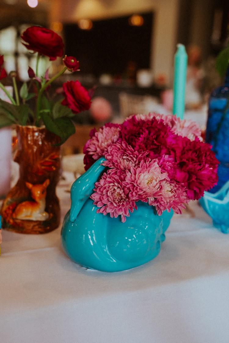 Bright Flowers Swan Vase Retro Kitsch Pastel Mint Pink Wedding Ideas http://www.beckyryanphotography.co.uk/