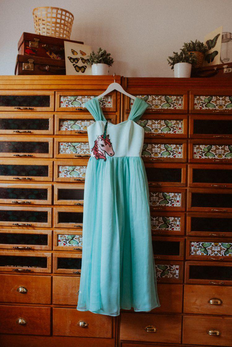 Unicorn Dress Bride Bridal Gown Retro Kitsch Pastel Mint Pink Wedding Ideas http://www.beckyryanphotography.co.uk/