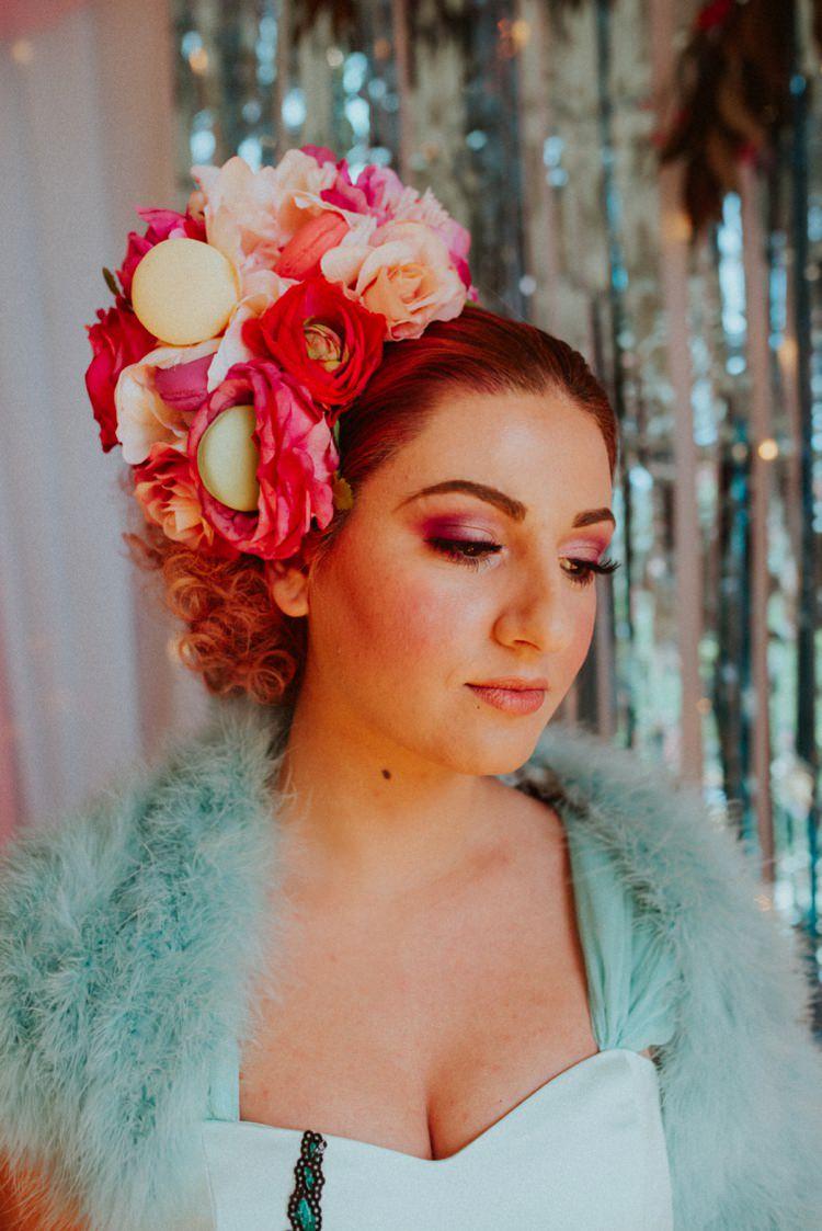 Flower Floral Head Band Headdress Crown Large Bride Bridal Retro Kitsch Pastel Mint Pink Wedding Ideas http://www.beckyryanphotography.co.uk/